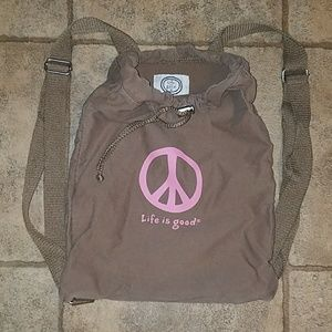 Life is good brown drawstring backpack